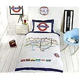 Underground London Undgerground Tube Duvet Cover and Pillowcases Bedding Bed Set- Single, White