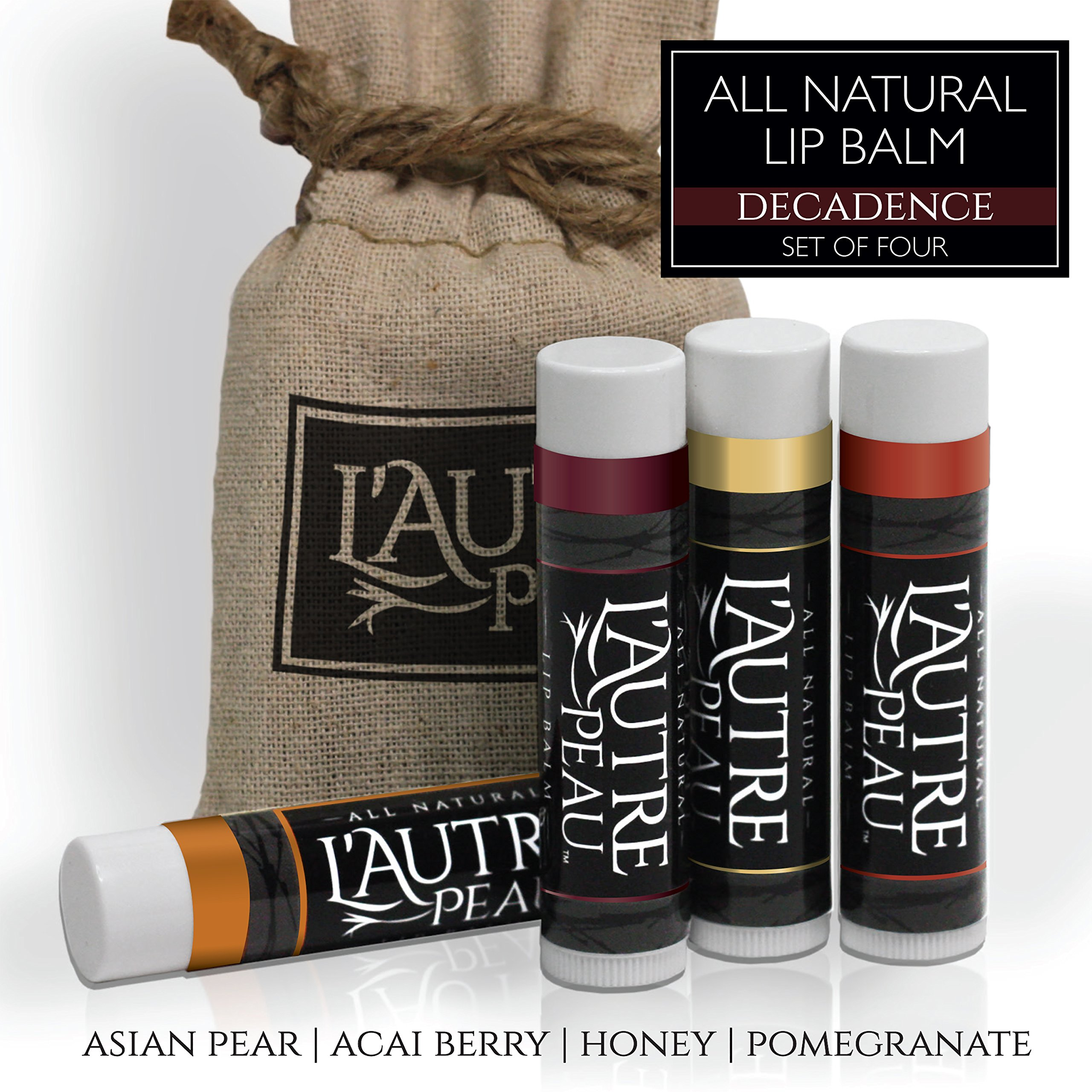 All Natural Luxury Lip Balm with Natural Beeswax by L'AUTRE PEAU - Dry Chapped Lips Treatment with Moisturizer | Decadence Gift Set | Asian Pear, Acai Berry, Honey & Pomegranate (4 Pack)