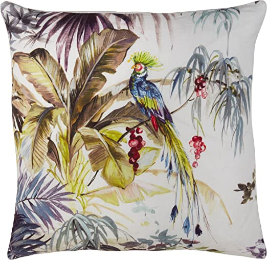 20 SARO LIFESTYLE Lin Cabane Collection Tropical Tree Linen Decorative Down-Filled Throw Pillow Multi