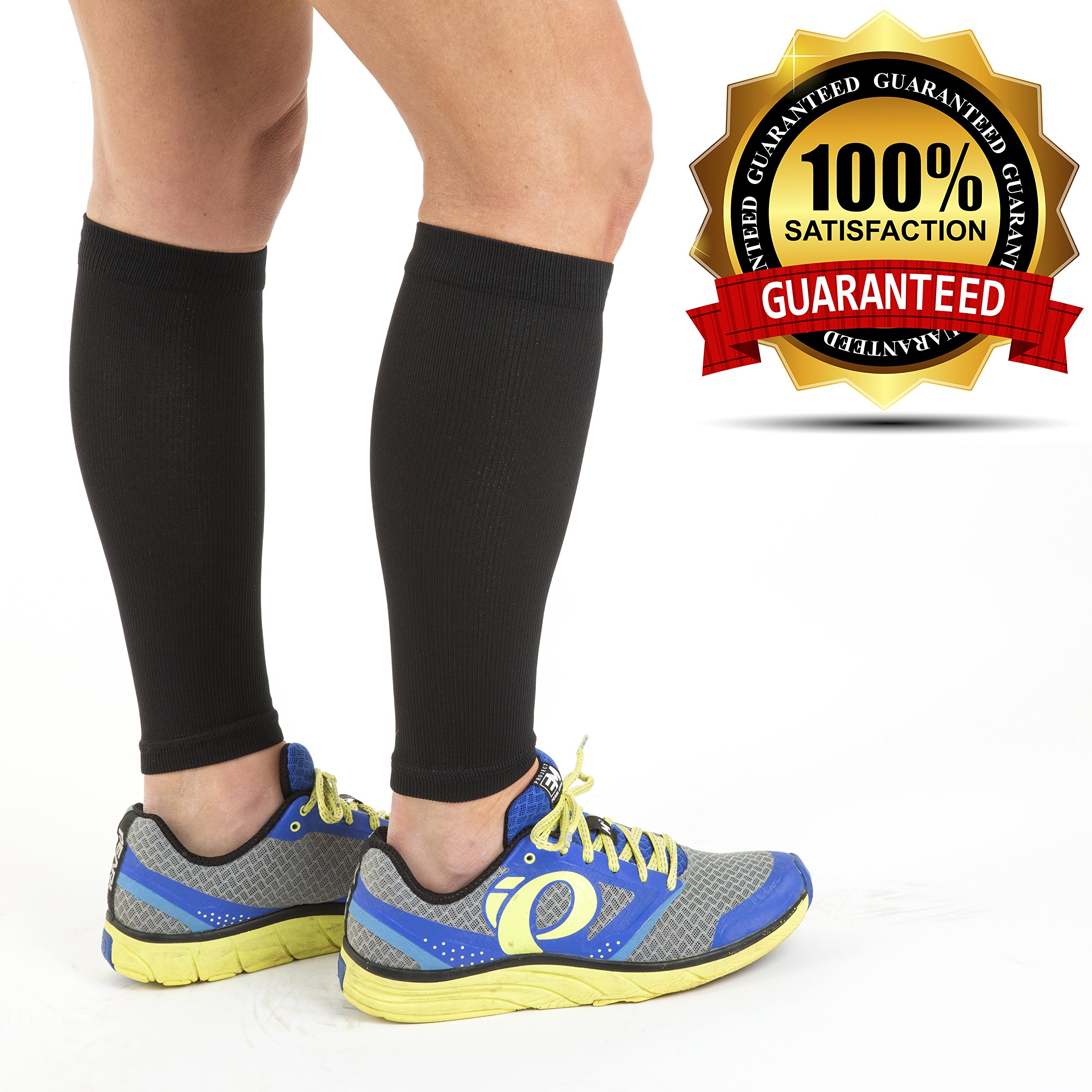 Calf Sleeve (1 pair) - Best True Graduated Compression Leg Sleeves For Running, Basketball - Boost Circulation - Faster Recovery for Runners - Aid Shin Splints & Strains. by Active Life