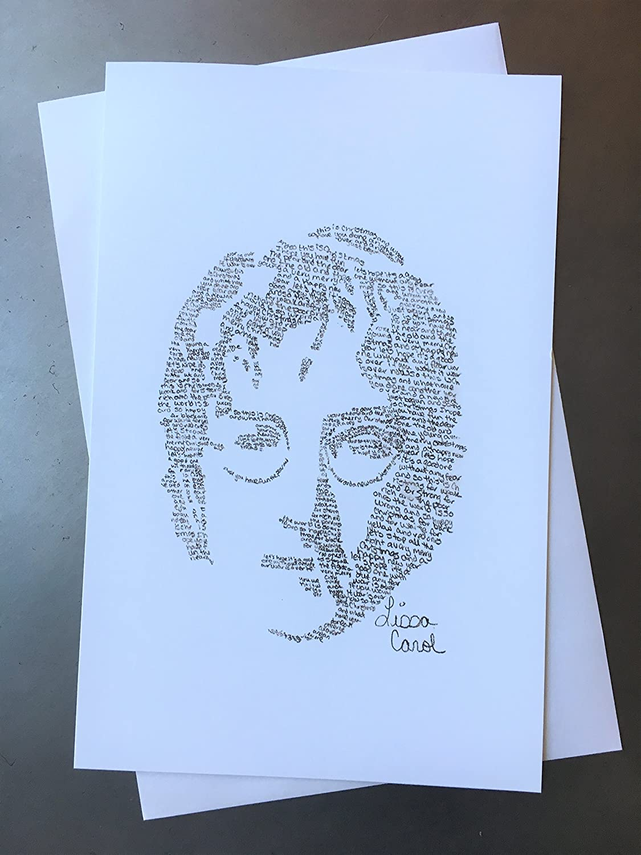 Christmas Card Drawing.The Beatles John Lennon Christmas Card Drawn From His Happy Christmas War Is Over Lyrics Xmas Contemporary Music Greeting Card