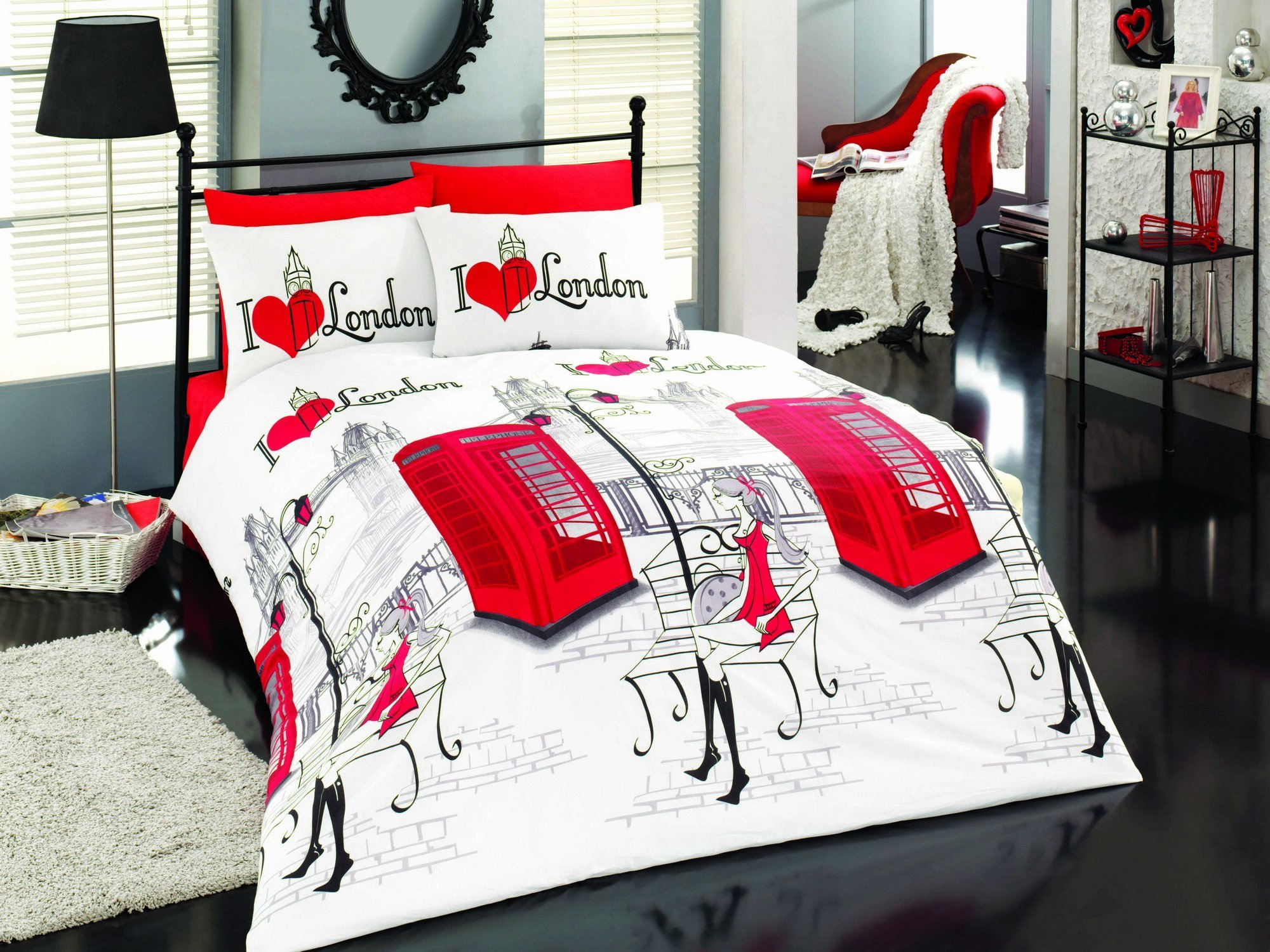 LaModaHome Culture Duvet Cover Set, I Love London, Red City, Girl, Payphone - 50% Cotton 50% Polyester - Set of 2 - Duvet Cover and Pillowcase for Single Bed