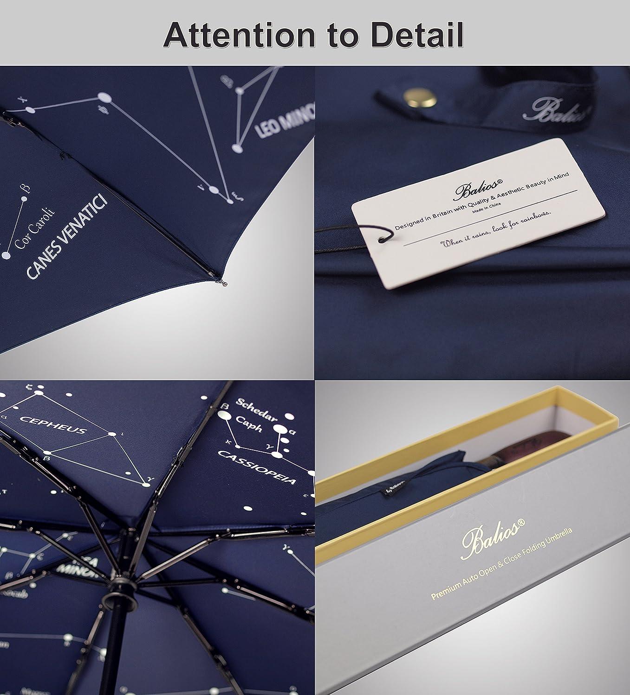 (Diseñado en G. Bretaña) Mango paraguas Balios® azul marino, madera real, a mano. Patrón int. de constelación. Apertura/cierre automáticos, fibra de vidrio ...