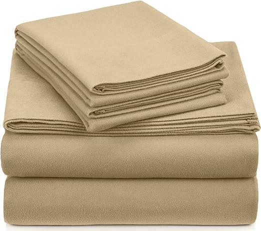 Amazon Com Pinzon Signature Cotton Heavyweight Velvet Flannel Sheet Set California King Chamois Home Kitchen