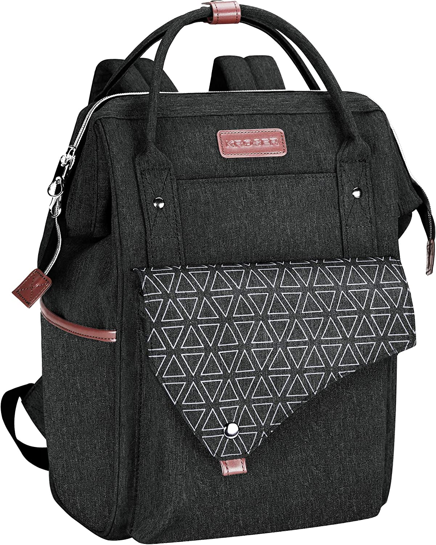 KROSER Laptop Backpack 15.6 Inch Business School Computer Backpack with USB Charging Port Water-repellent College Daypack Travel Work Bag for Women/Men-Black