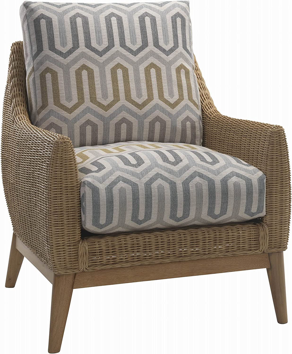 Desser Camden Armchair in Pimlico Fabric Real Cane Rattan Indoor Conservatory Furniture with UK Manufactured Cushions – Quallofil Technology - Chair: H92cm x W75cm x D89cm
