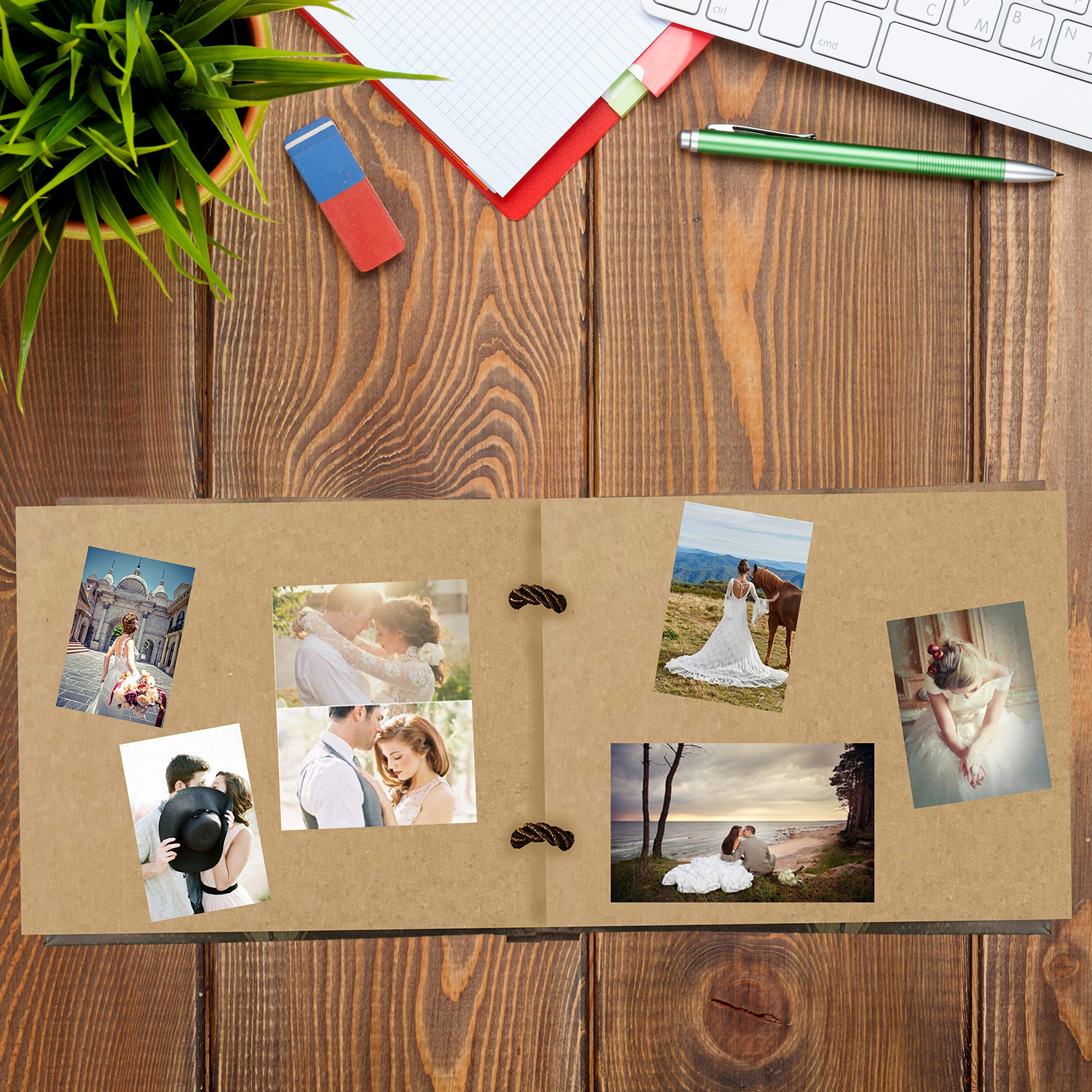 Potok Photo Album Scrapbook, 12x9 inches Photo Album Scrapbook Great for Craft Paper DIY Anniversary, Wedding Guest Book, Valentines Day Gifts, DIY Anniversary Travel Memory Book (Our Adventure Book) by Potok (Image #5)