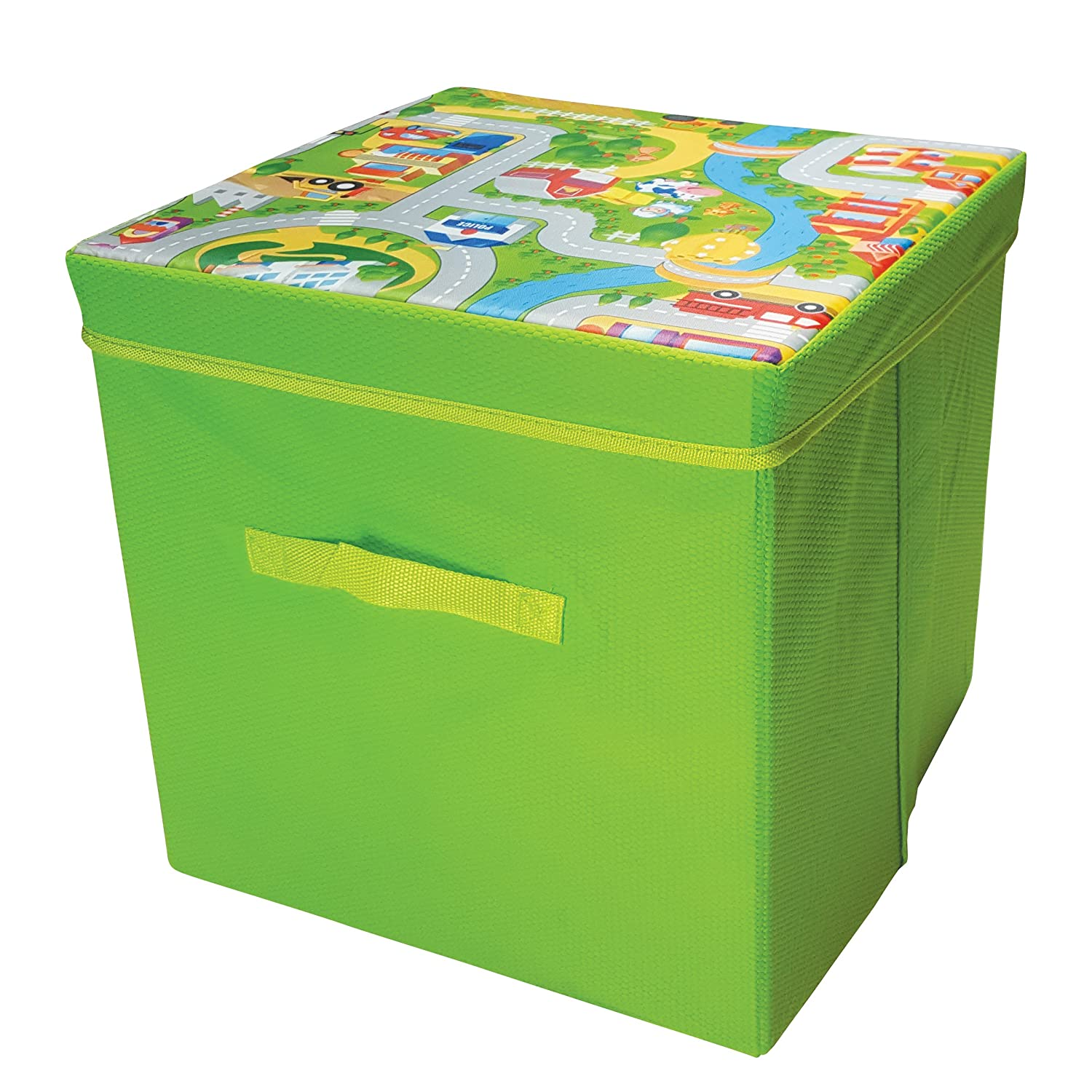 Snoozy Road Map Storage Box And Play Mat Fiberlinks Textiles Inc
