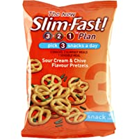 SlimFast Sour Cream and Chive Pretzels Snack Bag 23 g - Pack of 12