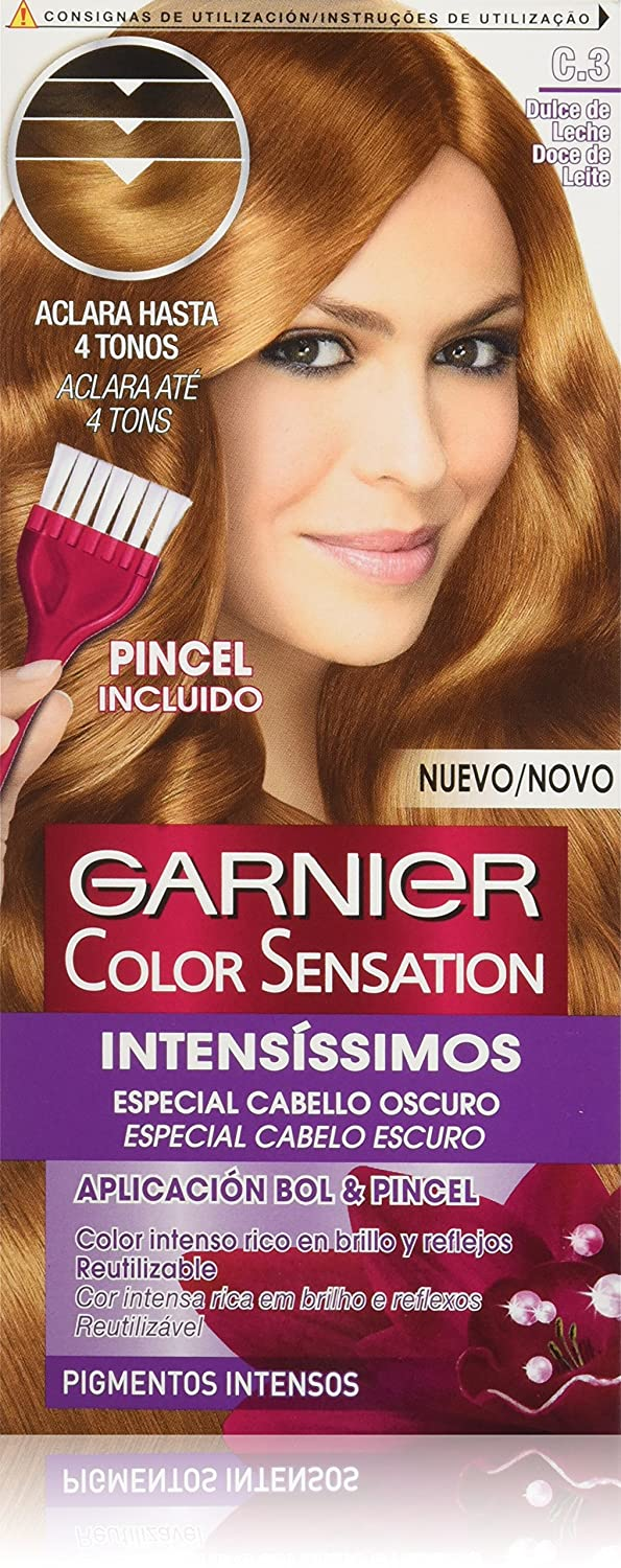 Garnier Color Sensation coloración permanente e intensa reutilizable con bol y pincel - Tono: C3 Dulce de Leche: Amazon.es: Belleza