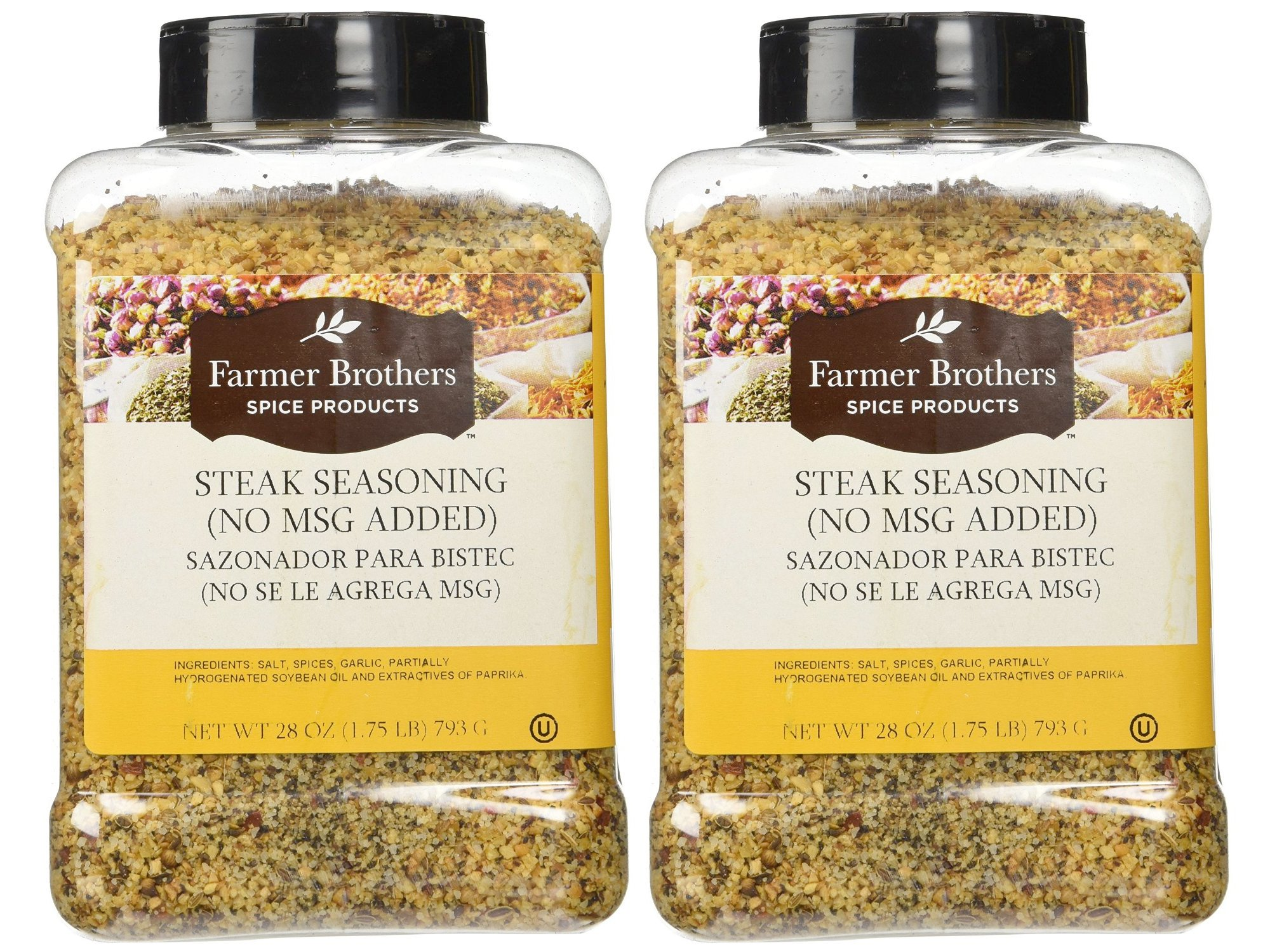 Set of Two - Farmer Brothers Steak Seasoning with no MSG 1lb 12 oz Large Restaurant/Food Service Size Container
