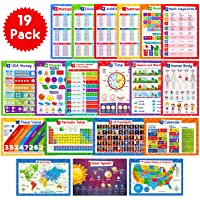 19 Educational Posters for Kids - Multiplication Chart Table, Periodic Table, USA Map, World Map, Solar System, Days of…
