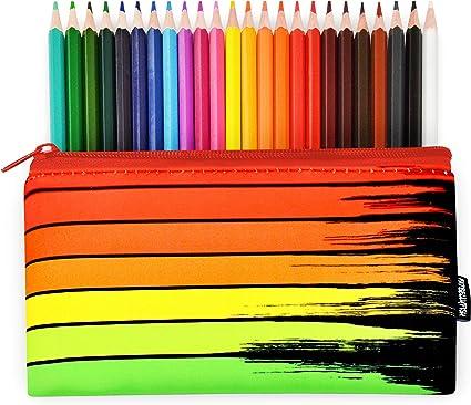 Fat Belly Fish - Estuche de neopreno + 24 lápices de colores de Helix, diseño de arcoíris de rayas, color rojo, naranja, amarillo y verde: Amazon.es: Oficina y papelería