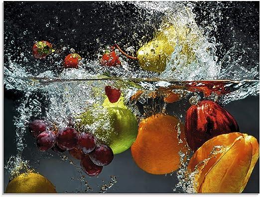Artland Glasbilder Wandbild Glas Bild 80x60 cm Querformat Modern Küche  Essen Obst Früchte im Wasser Erdbeere Apfel Orange Trauben S7LQ