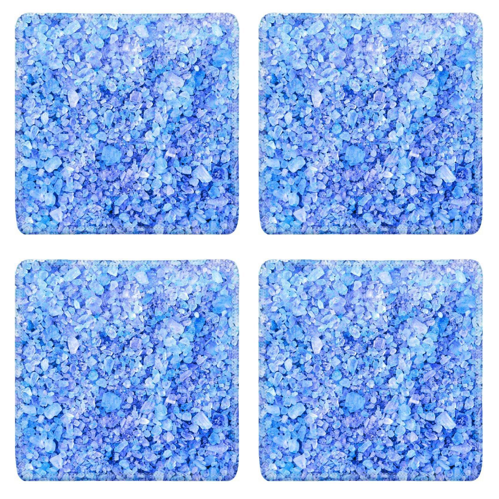 MSD Square Coasters Non-Slip Natural Rubber Desk Coasters design 24084396 spa blue crystals background texture macro