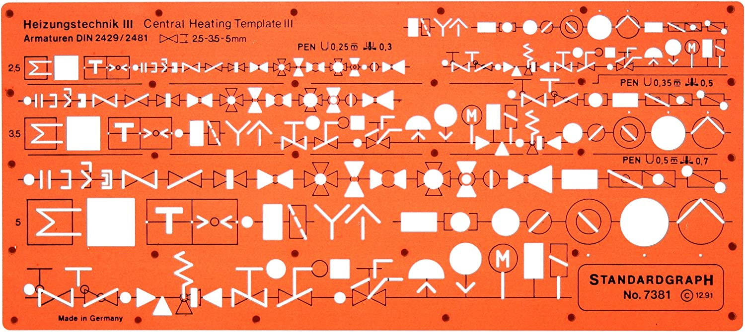 Amazon.com: Metric Heating Mechanical Building Services Installation HVAC  Symbols Drawing Template Stencil: Arts, Crafts & Sewing | Hvac Drawing Symbols Pictures |  | Amazon.com