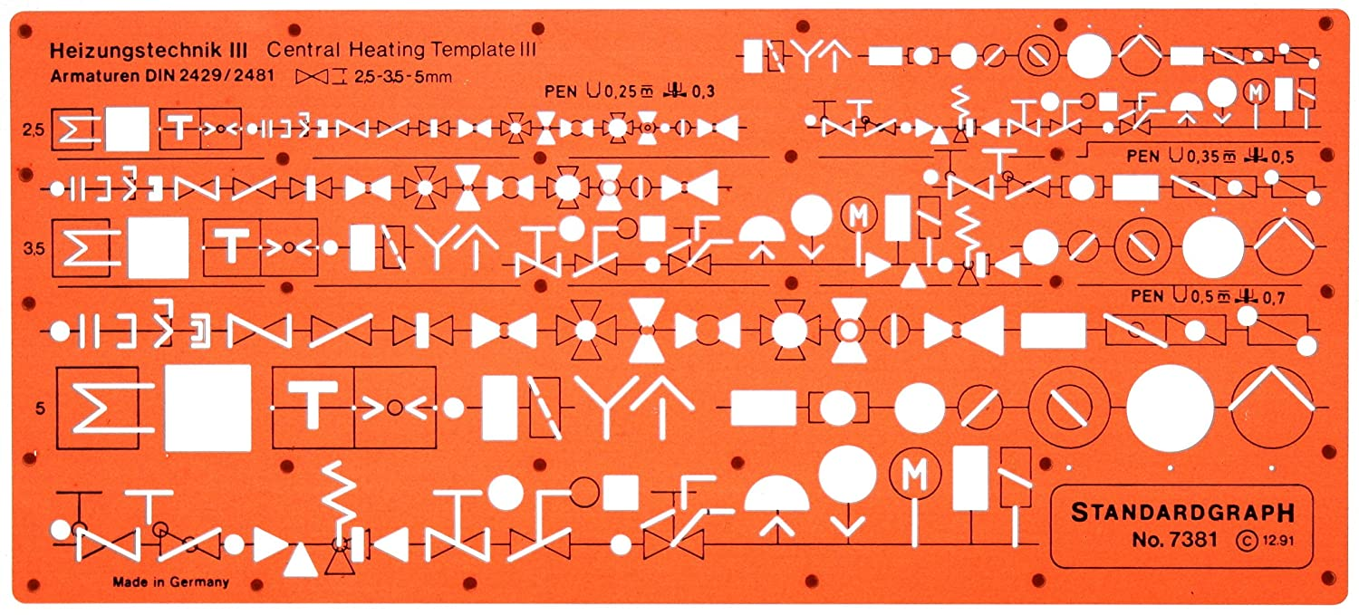 Heating Mechanical Building Services Installation Hvac Symbols Drawing Details Template Stencil Office Products
