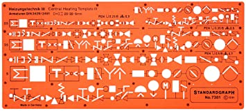 heating mechanical building services installation hvac symbols drawing  template stencil