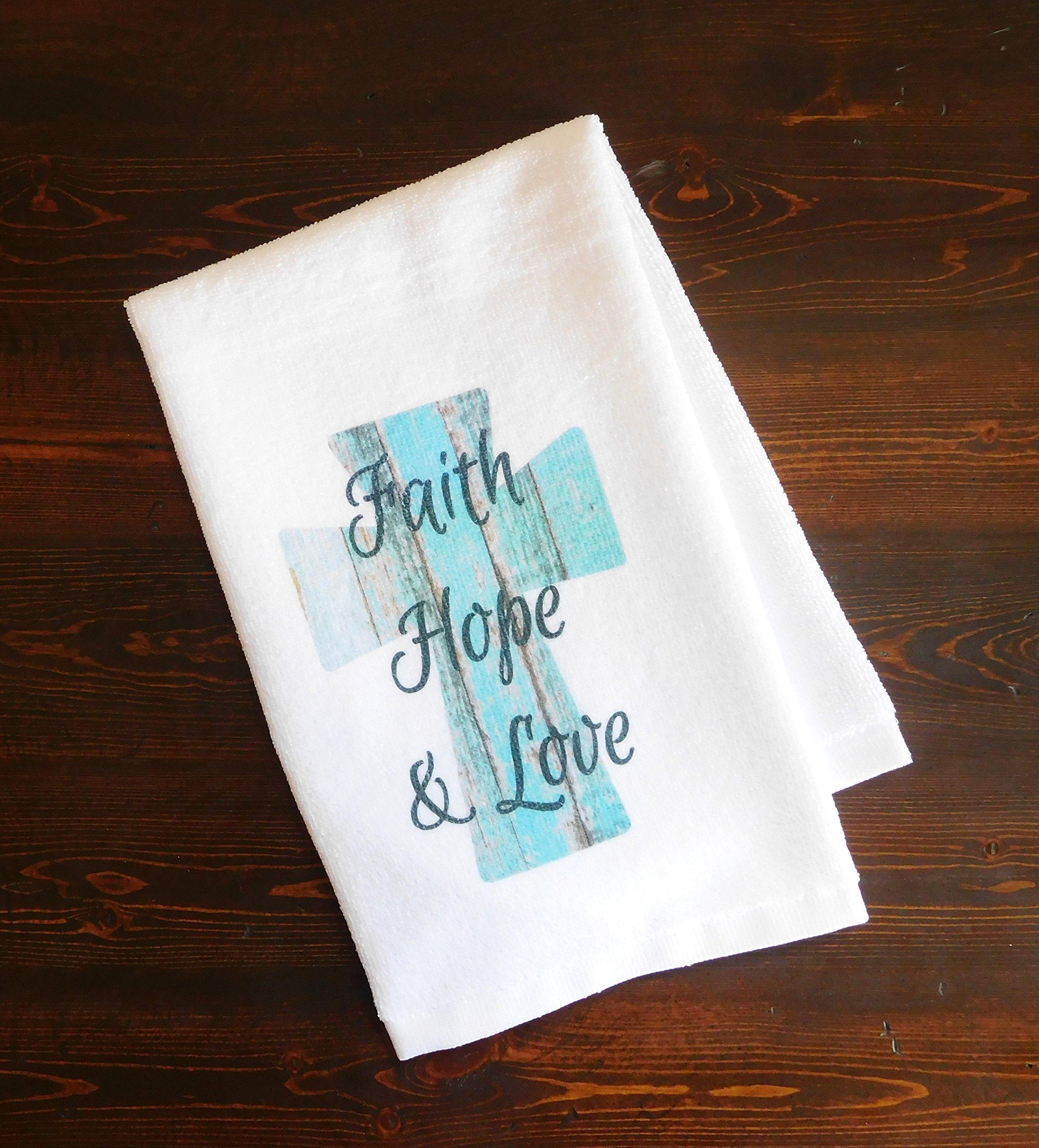 Bathroom Hand Towel - Faith, Hope, and Love Turquoise Cross - Kitchen Dish Towel