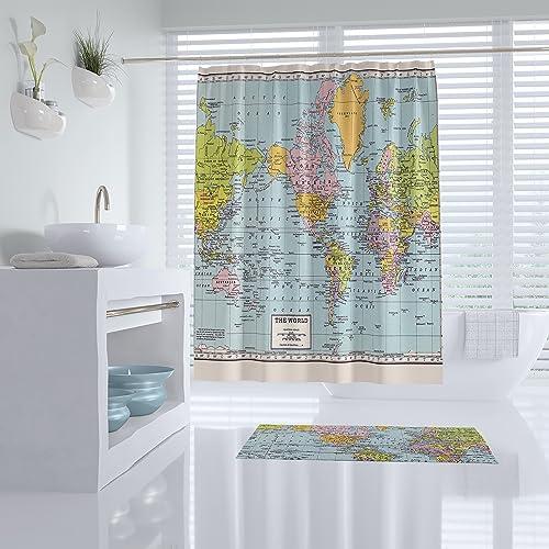 Amazon World Map Shower Curtain Handmade