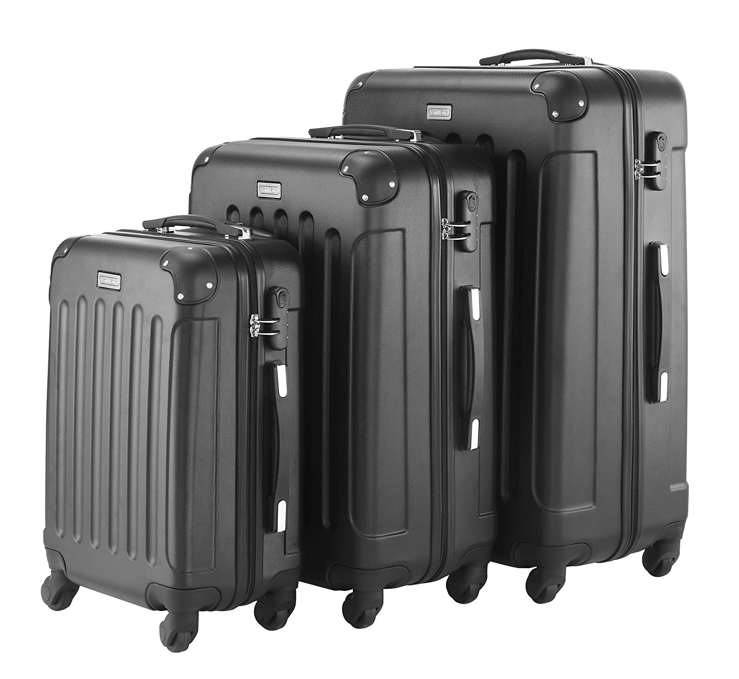 Amazon.com | VonHaus 3 Piece Extra Strong ABS Luggage Set Black ...