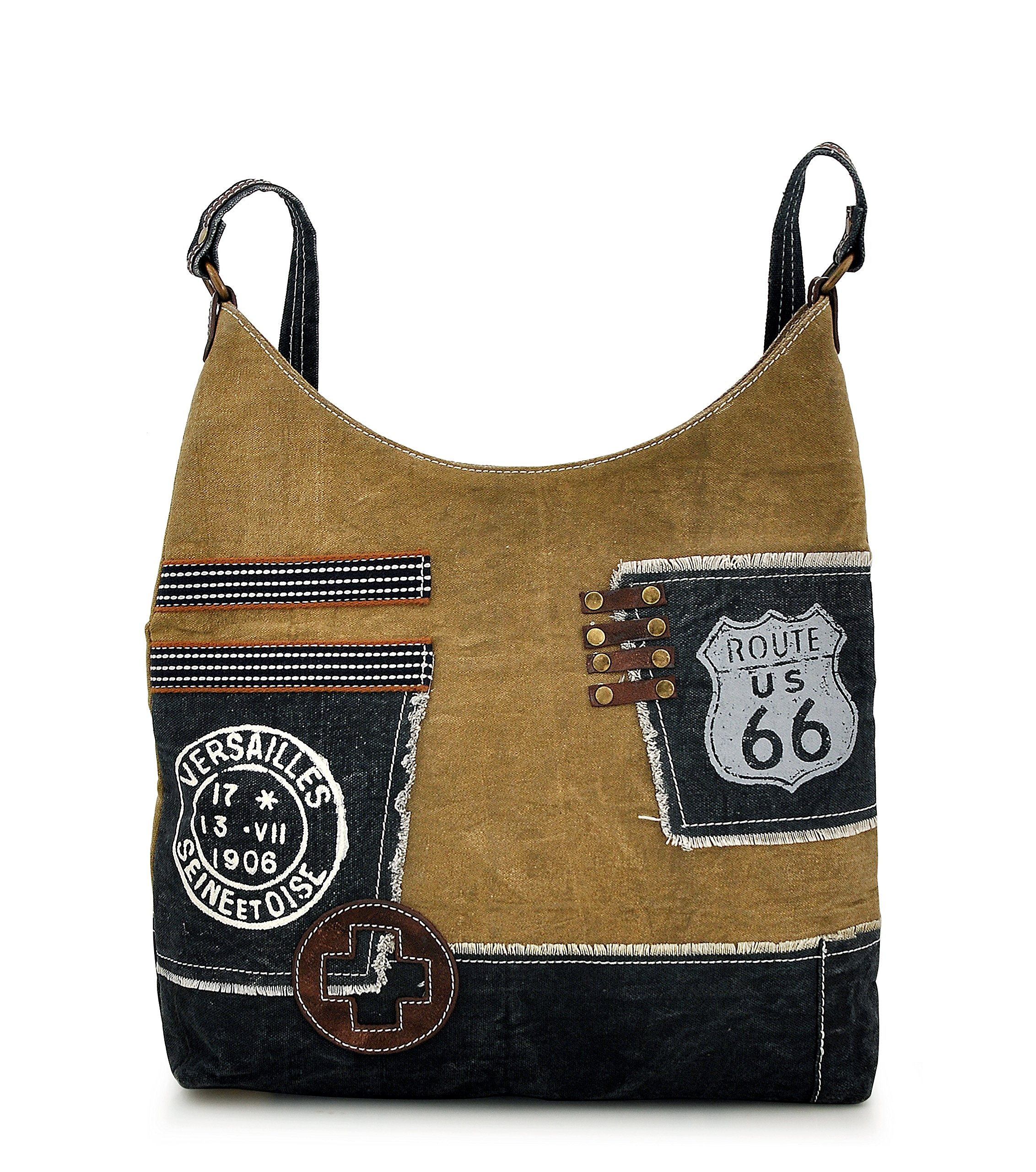 Canvas Tote bag for Women Girls Leather Trims Work Travel Shopper Backpack Cross body Hobo Messenger Shoulder Purse by Daphne (Route 66)