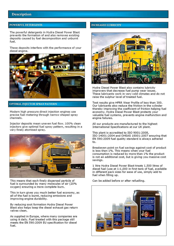 HYDRA Diesel Power Blast Treats 750L+ Diesel Injector Cleaner 500ml