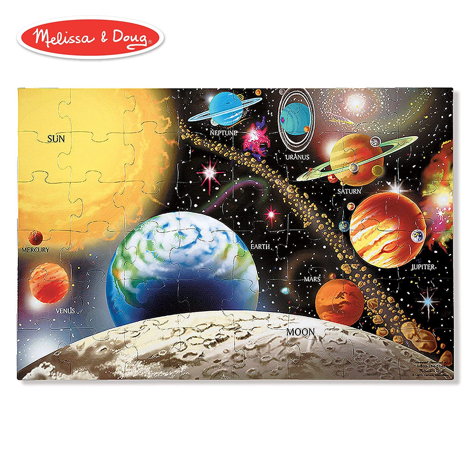 "Melissa & Doug Solar System Floor Puzzle (Floor Puzzles, Easy-Clean Surface, Promotes Hand-Eye Coordination, 48 Pieces, 36"" L x 24"" W)"