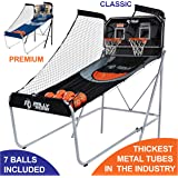 Shootout Basketball Arcade Game, Home Dual Shot with LED Lights and Scorer - 8-Option Interactive Indoor Basketball Hoop Game