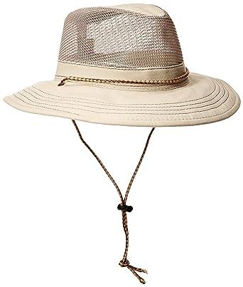aa346def56556f Stetson Men's Springfield Mesh Safari Hat, Khaki, Medium at Amazon ...