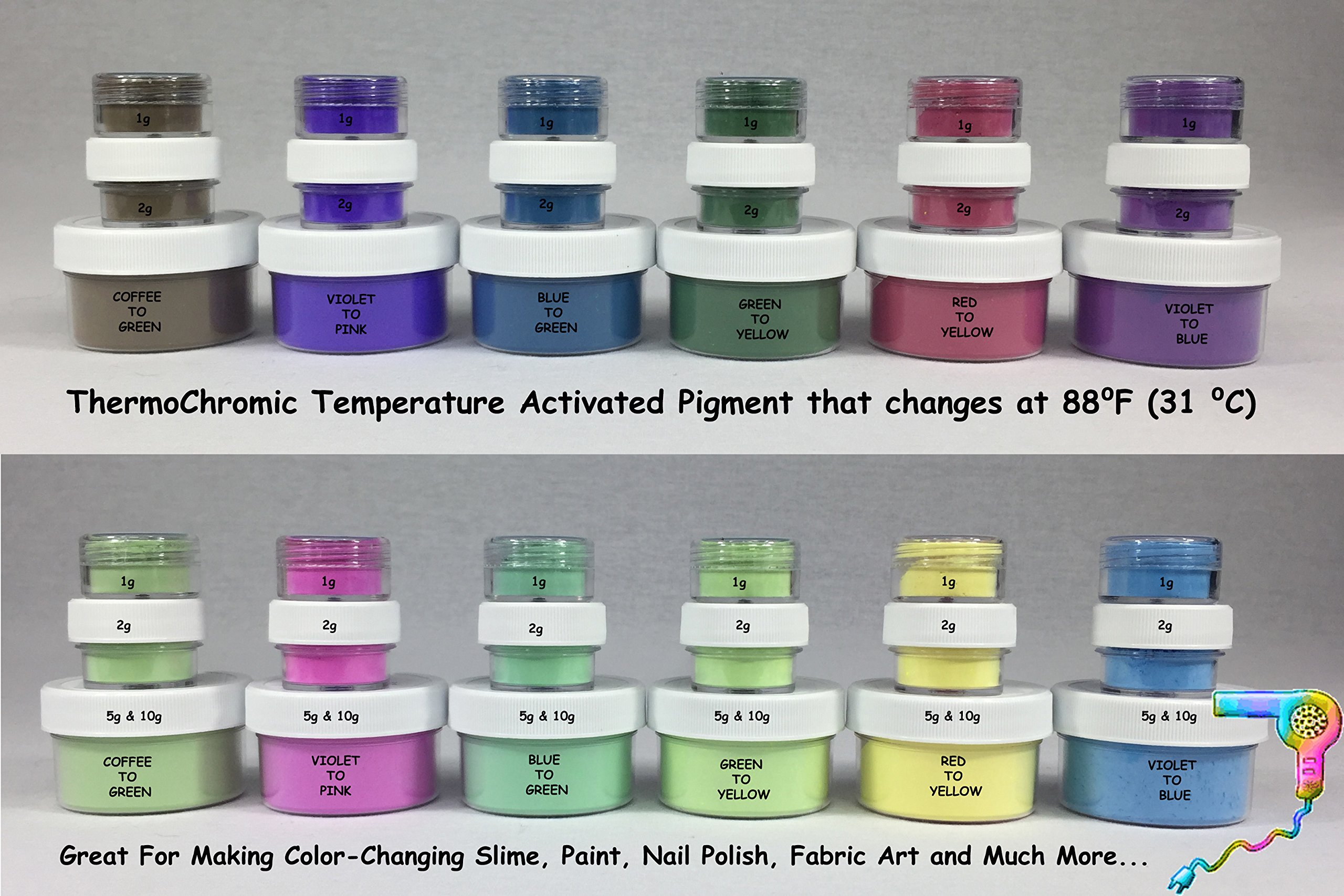 100g of ThermoChromic Temperature Activated Pigment that changes at 88⁰F (31 ⁰C) - Great for making color-changing slime, Paint, Nail Polish, Fabric Art and More (Custom 10 X 10g, MIXED COLORS) by Unknown (Image #3)