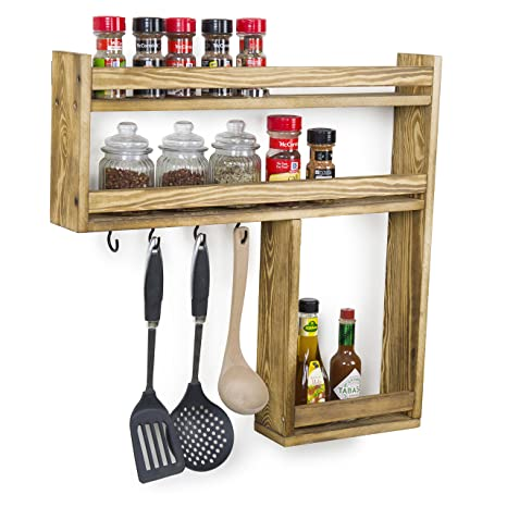 Amazoncom Mygift Wall Mounted Burnt Wood 3 Tier Condiment Spice