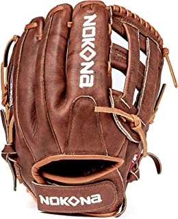 product image for Nokona W-V1200H Handcrafted Walnut Fastpitch Baseball Glove - H-Web for Infield and Outfield Positions, Adult 12 Inch Mitt, Made in The USA