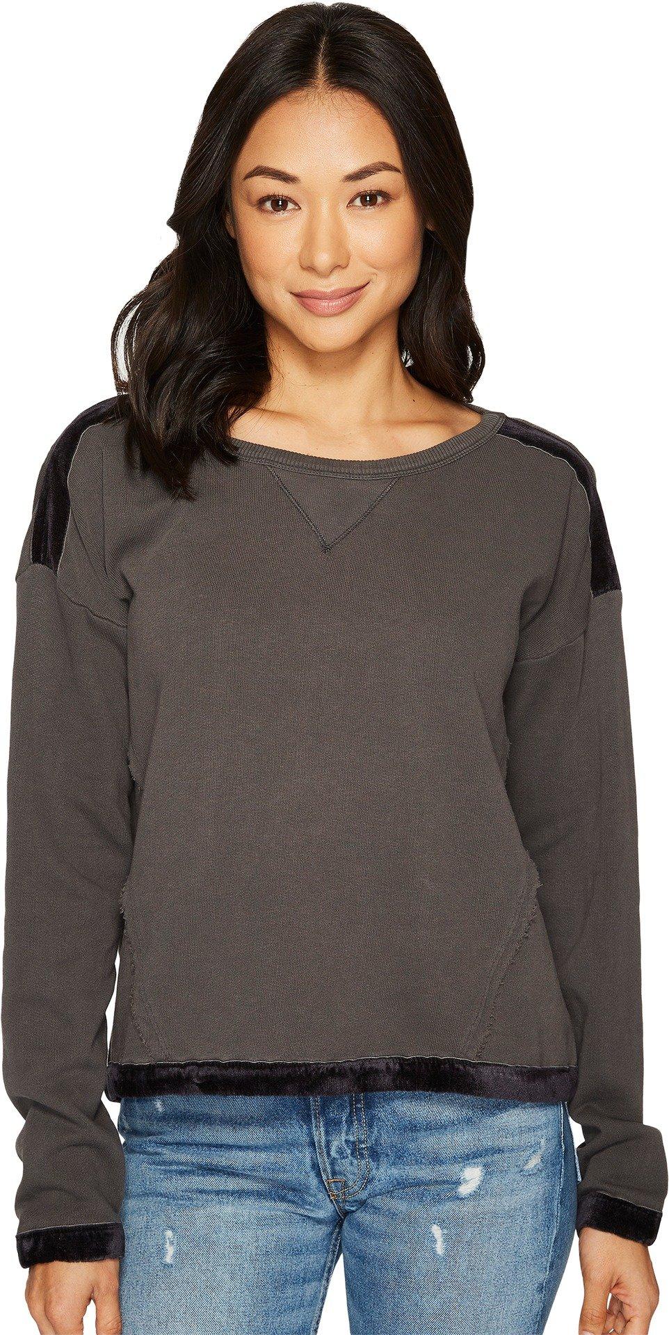 Splendid Women's Velvet Trim Mixed Media Pullover Sweatshirt Lead Small