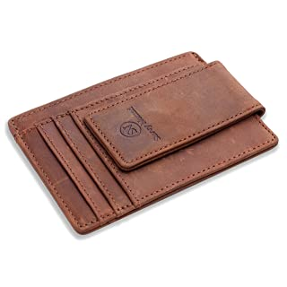 Money Clip Front Pocket Wallet Slim Minimalist RFID Blocking Leather Wallet with Strong Magnets