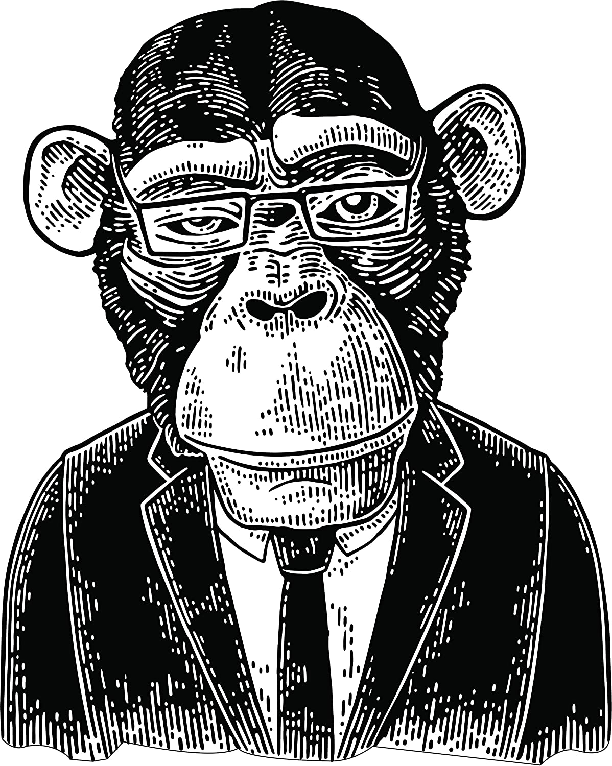 Amazon com cool monkey outfit guy clothing black and white cartoon vinyl sticker 2 tall business automotive
