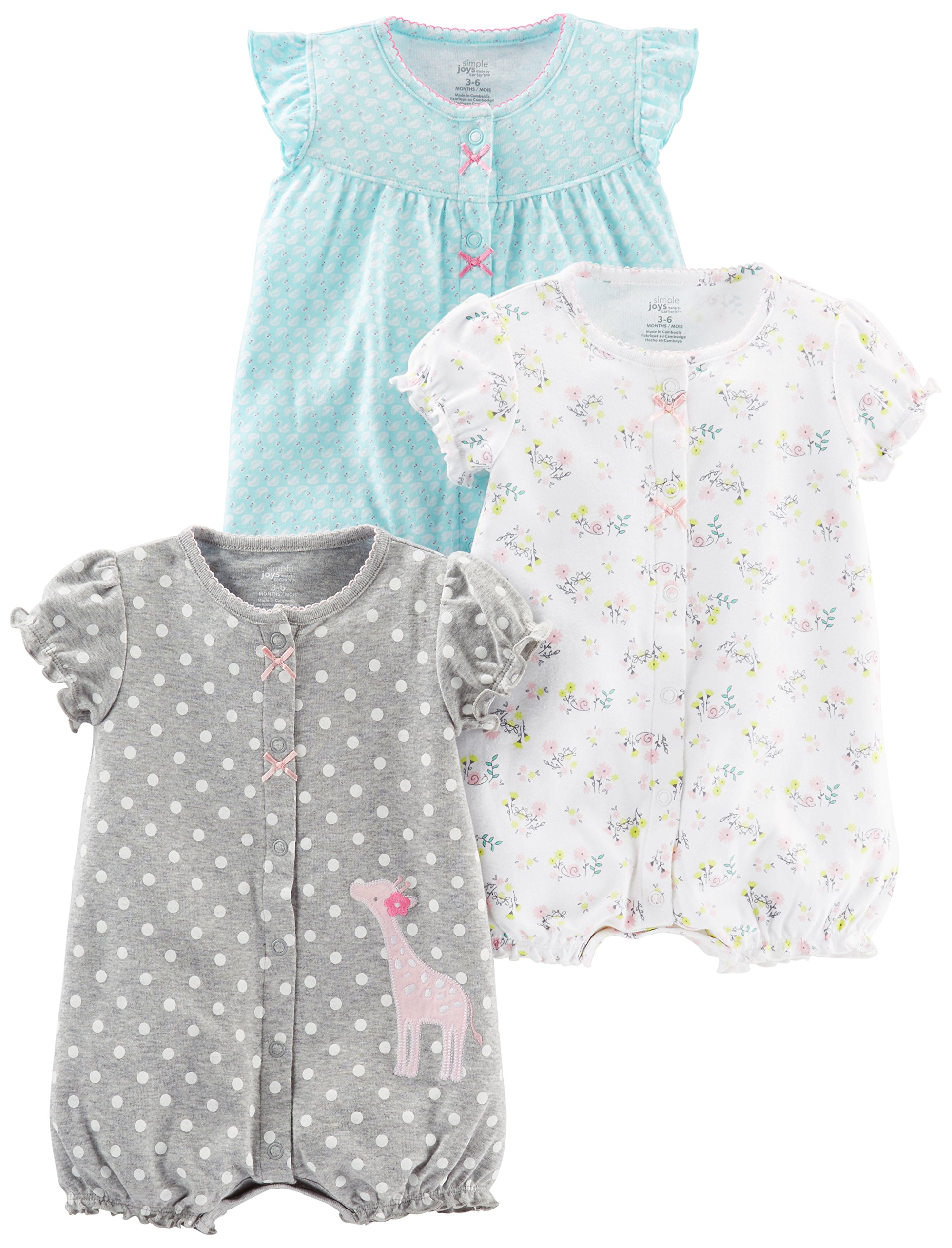 Simple Joys by Carter's Baby Girls' 3-Pack Snap-up Rompers, Blue Swan/White Floral/Gray Dot, 6-9 Months