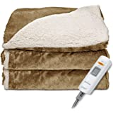 Sunbeam Reversible Sherpa/RoyalMink Heated Throw Blanket with EliteStyle II Controller, Honey,