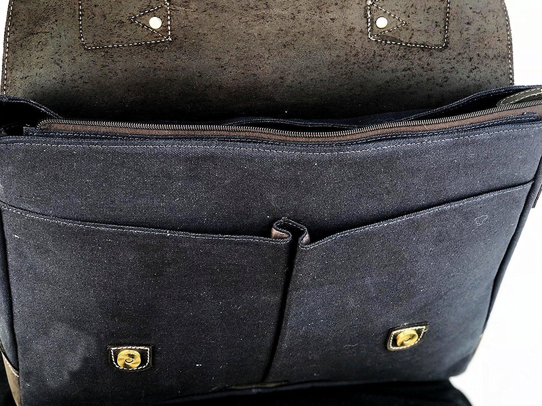 Yellow Canvas And Black Buffalo Leather Bag Prastara Handicrafts 16x12inch Breifcase