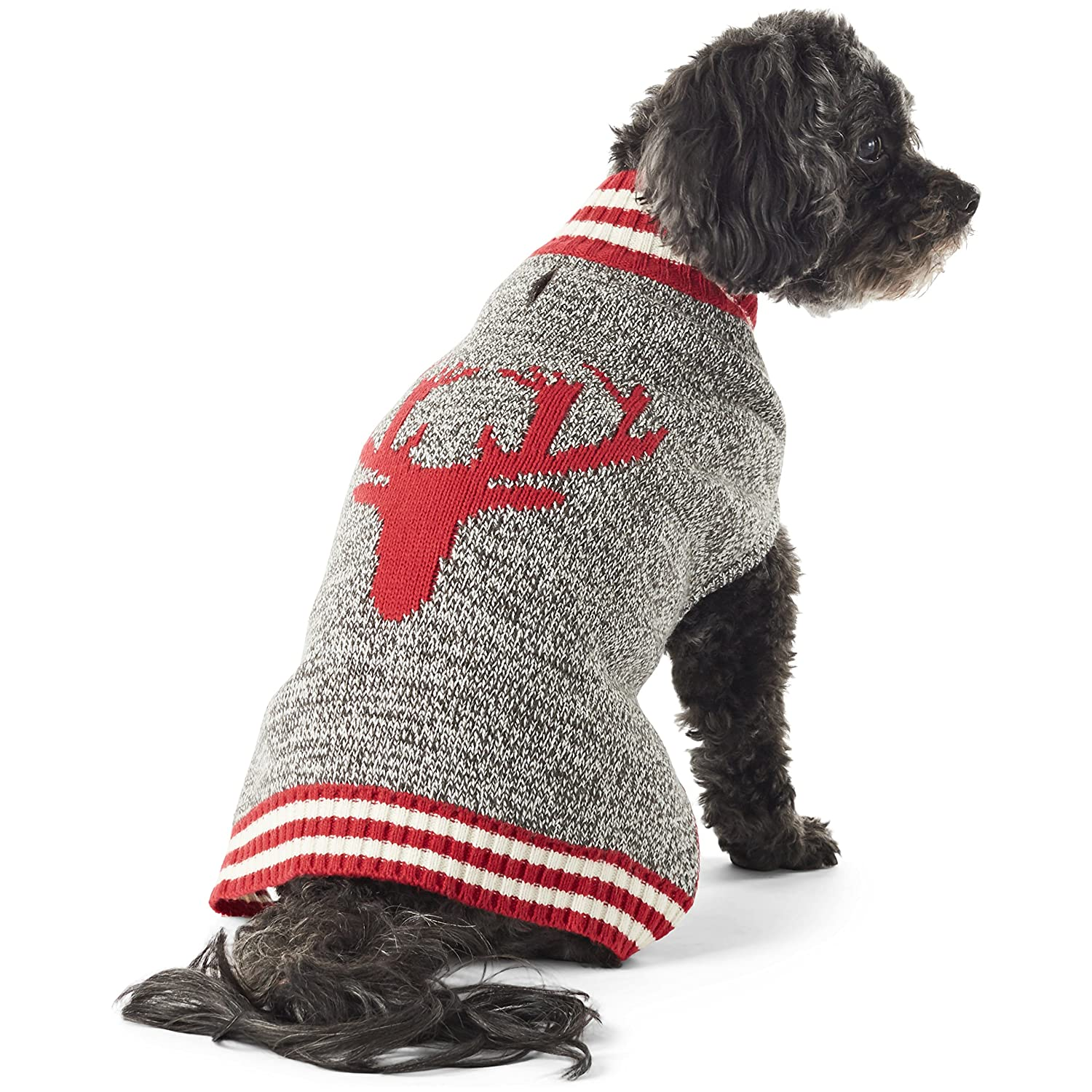 Cranberry Red XL Cranberry Red XL Hotel Doggy Reindeer Mock Neck Dog Sweater   Cranberry Red Dog Clothing XL
