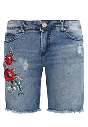 Sublevel Damen Jeans Bermuda mit Blumen-Stickerei   Kurze Hose   Jeans- Shorts mit Destroyed Parts  Amazon.de  Bekleidung a7106c8adc