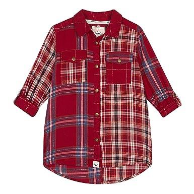 843a679a5 Mantaray Kids Girls  Red Mix Checked Long Sleeve Shirt  Mantaray ...