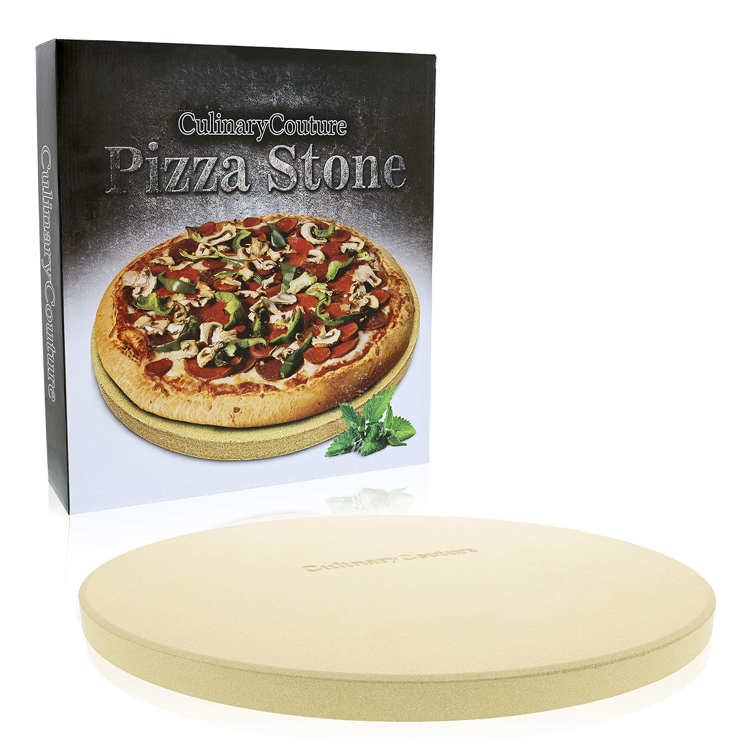 Pizza Stone for Grill and Oven - 15 Inch 3/4'' Extra Thick - Cooking & Baking Stone for Oven and BBQ Grill - With Durable Foam Packaging, Gift Box & Pizza Recipes EBook