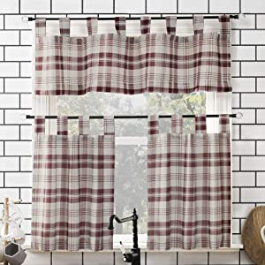 "No. 918 Blair Farmhouse Plaid Semi-Sheer Tab Top Kitchen Curtain Valance and Tiers Set, 52"" x 36"" 3-Piece, Red/Ecru Off-White"