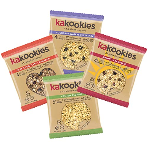 Kakookies Energy Cookies - Sampler Pack (4 Cookies) - Vegan, Gluten-Free