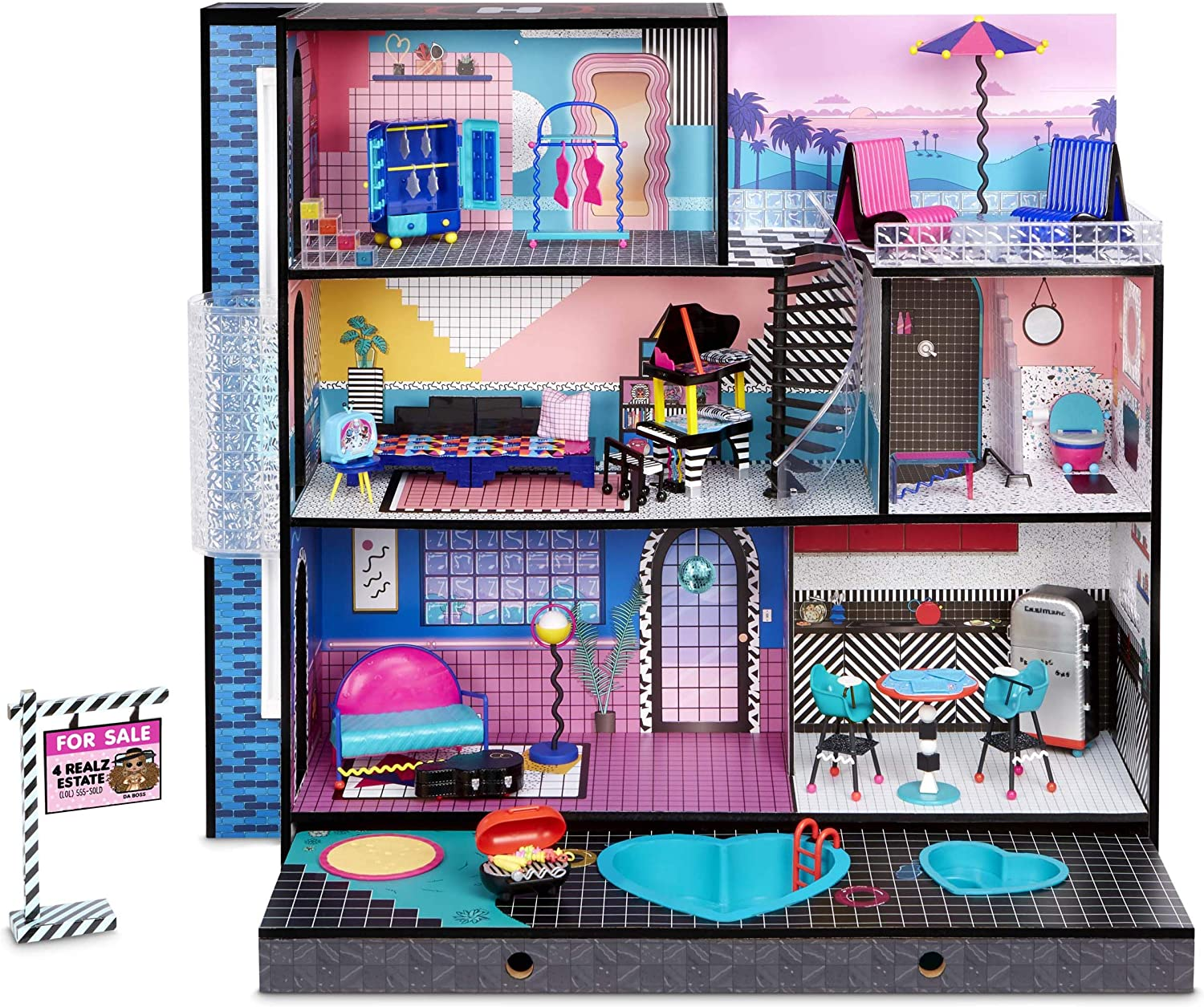 LOL Surprise OMG House – New Real Wood Doll House with 85+ Surprises | 3 Stories, 6 Rooms including Elevator, Tub, Pool, Patio, Living Room, Kitchen, Piano Bedroom, Bathroom, and Fashion Closet