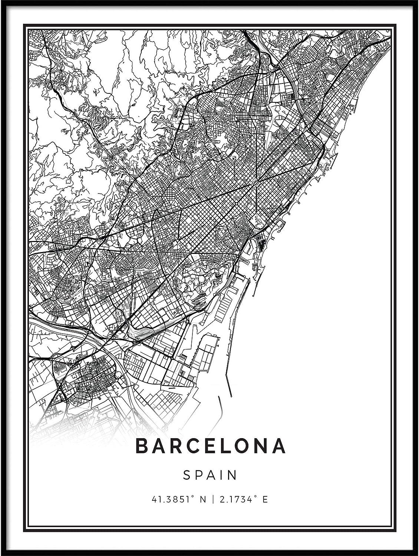 Squareious Barcelona map Poster Print | Modern Black and White Wall Art | Scandinavian Home Decor | Spain City Prints Artwork | Fine Art Posters 18x24