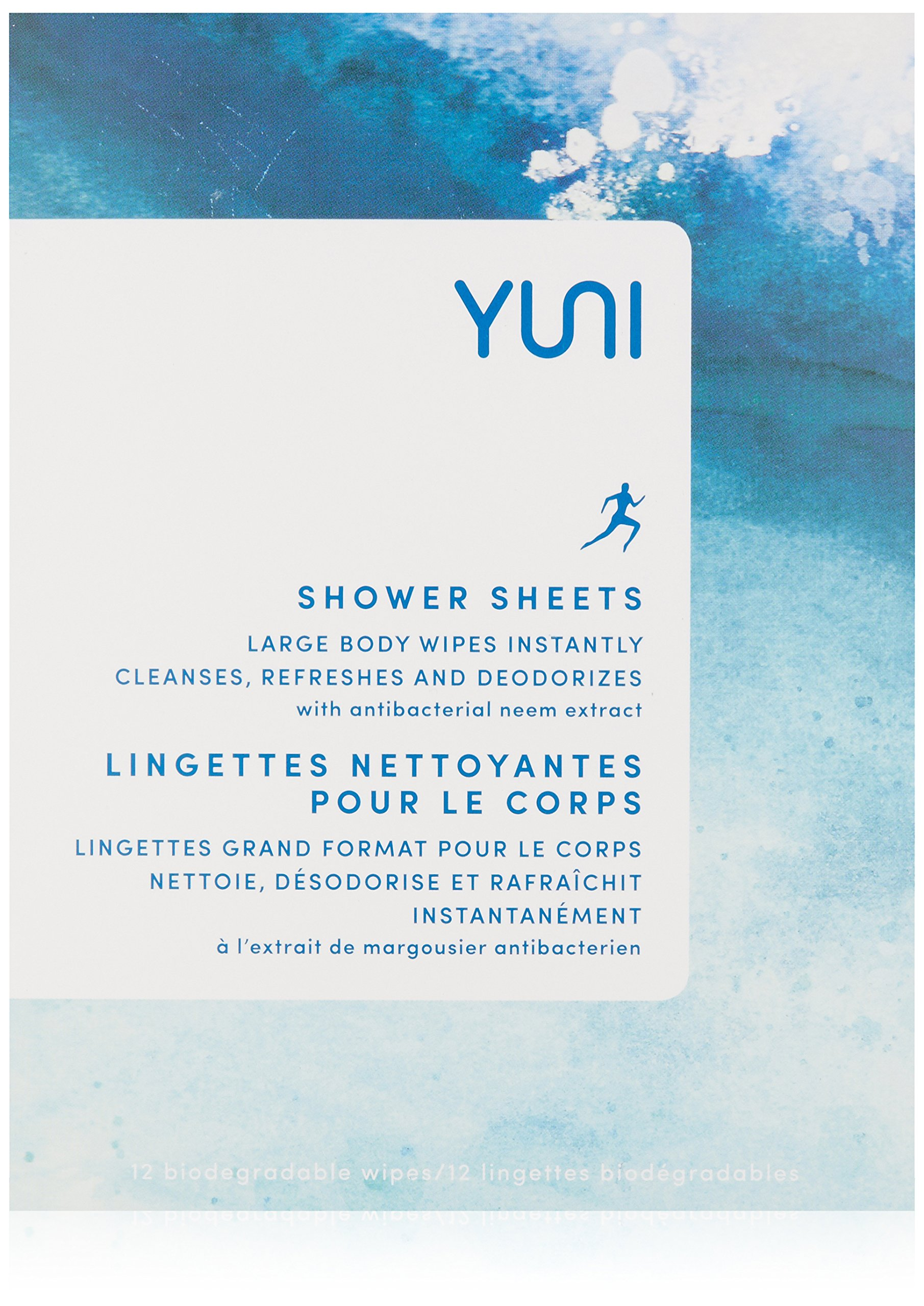 YUNI Beauty Shower Sheets, Large Individually Wrapped Cleansing Body Wipes by YUNI