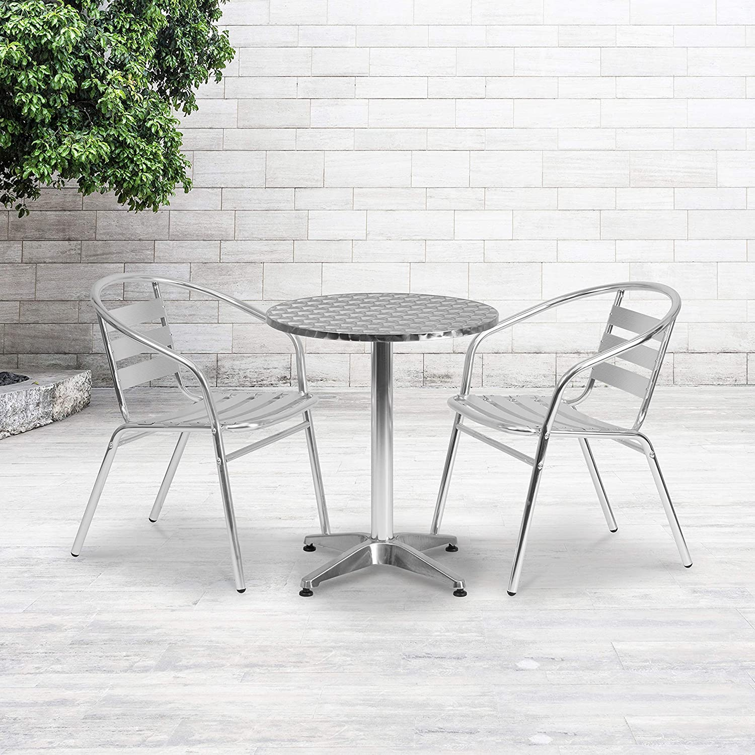 Flash Furniture 23.5 Round Aluminum Indoor-Outdoor Table Set with 2 Slat Back Chairs