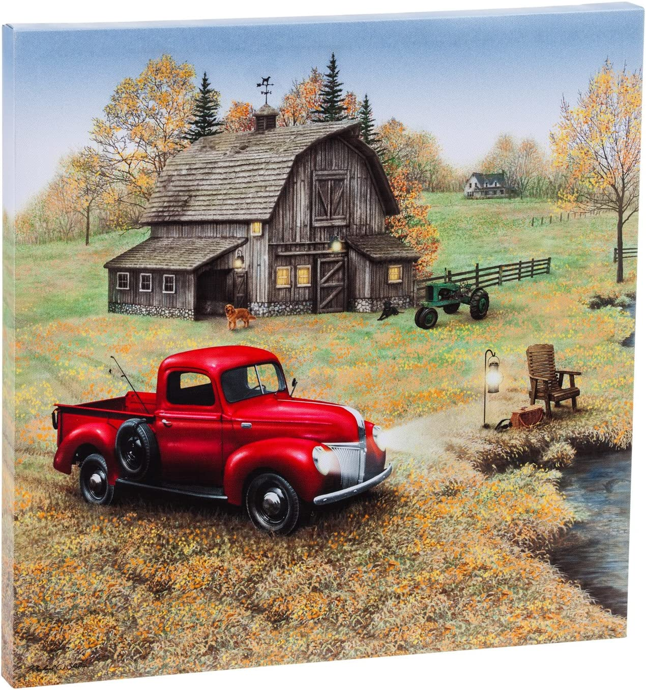Cape Craftsmen Vintage Farm Truck & House LED Light Canvas Wall Art